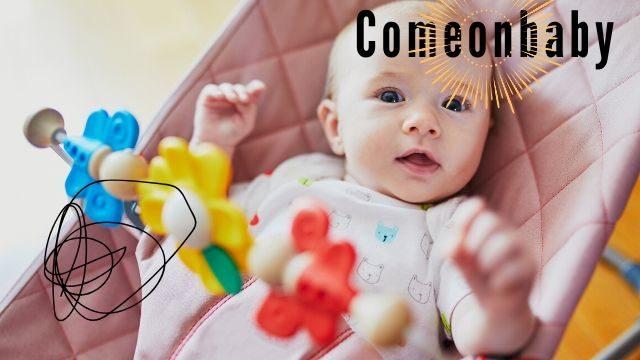 赤ちゃんがバウンサーに乗っている